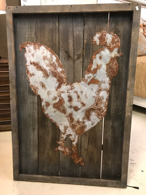 Tin Rooster on Pallet