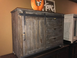 "Jon420-2FI 50"" TV Stand  with Barn Door and 3 Drawers Weathered wood"