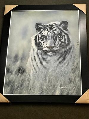 White Tiger Framed Oil on Canvas Art