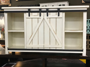 "JON981FI 60"" TV Stand with Barn Door Antique White"