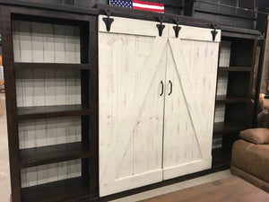 Mic-Ent 219FI 2 Tone Media Wall with Barn Doors - Last One Clearance