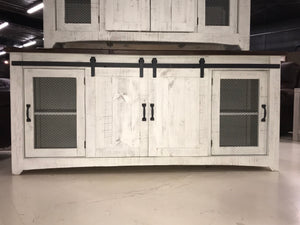 "2133FI Barndoor  79"" TV Stand with Mess Distressed White"