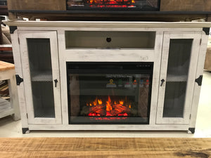 JonFPMeshFI TV Stand with Fireplace Insert in Distressed White