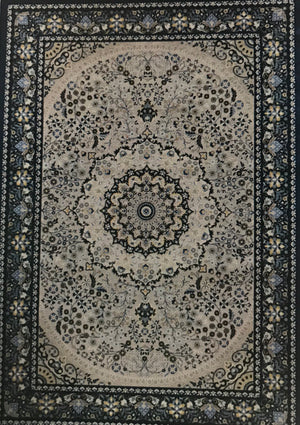 EM1468FIA Emerald Cream and Blue Rug 5x7