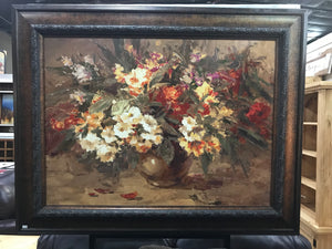 Vase of Flowers Framed Oil on Canvas Art