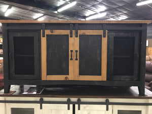 "2133FI Barndoor  72"" TV Stand with Mess Black/Honey Trim"