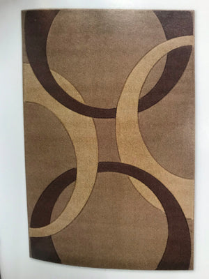 CU1268FIA Cream, Beige and Brown Curve Rug 5x7