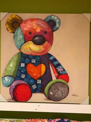 Gallery Wrap Teddy Bear with Heart Canvas Art