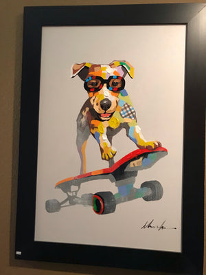 Mosaic Dog on Skateboard in Frame