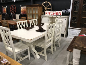 MicMesSB/MicSilSB  Antique white Mya Table and 6 Chairs