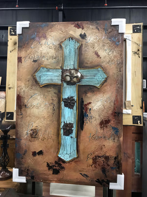 Gallery Wrap Turquoise Cross with Metal on Canvas Art