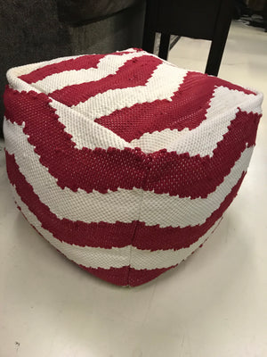 Red and White Chevron Pouf