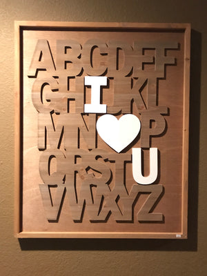 A to Z I Love You Wood Art