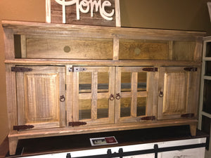 10-2-21-68FI Rustic Oak 4 Door Star TV Stand