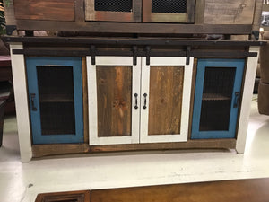 "Jon 2130 FI Iron Trim Mesh Door Blue and Nero 70"" TV Stand"
