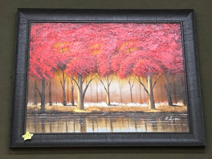 Red Trees Framed Oil on Canvas Art