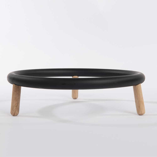 Olea Living, Smooth black and wood, circular bowl carrier by Serax.