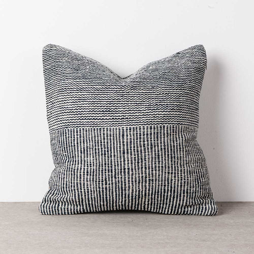 Natural dye, blue and white handwoven square, cotton cushion cover.  Que Onda Vos for Olea Living