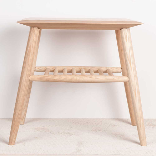 Solid Ash spindle shelf side table.  Simple Scandinavian design.  Hand turned by Head and Haft for Olea Living