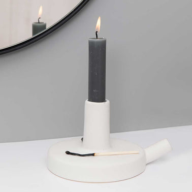 White ceramic tubular design candle holder by Catherine Lovatt, Serax for Olea Living.