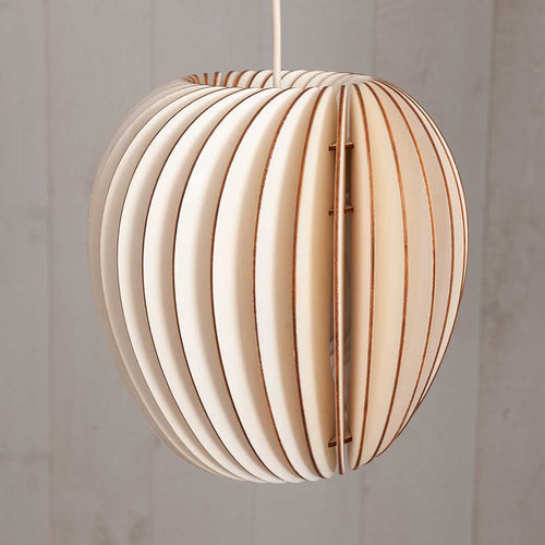 Curved sustainable wood Pirum pendant light by Schneid Studios for Olea Living. Off white natural cord and ceiling cup.