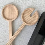 Solid English Ash salad servers, Charred Oak presentation holder, Scandinavian design, simple living, Handmade, Tanti design for Olea Living