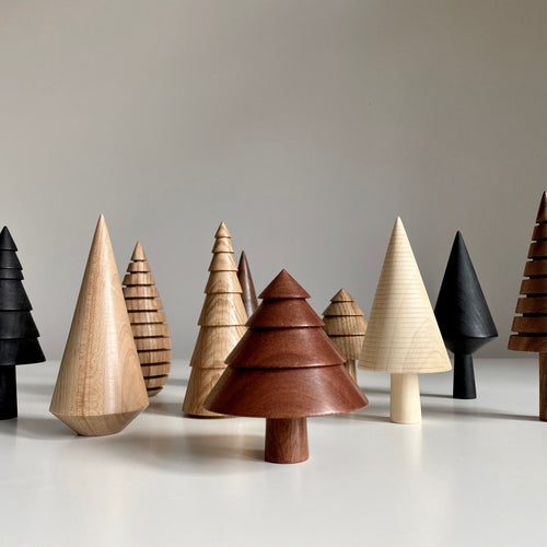 Handmade wooden trees by Forge Creative for Olea Living, Scandinavian style, Christmas tree decorations