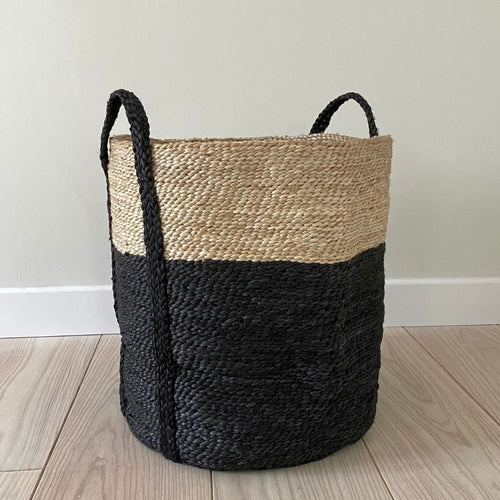Large jute round two tone basket from Maison Bengal for Olea Living