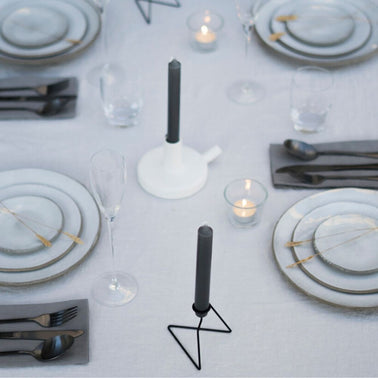 White ceramic, tubular design candleholder, designed by Catherine Lovatt for Serax for Olea Living