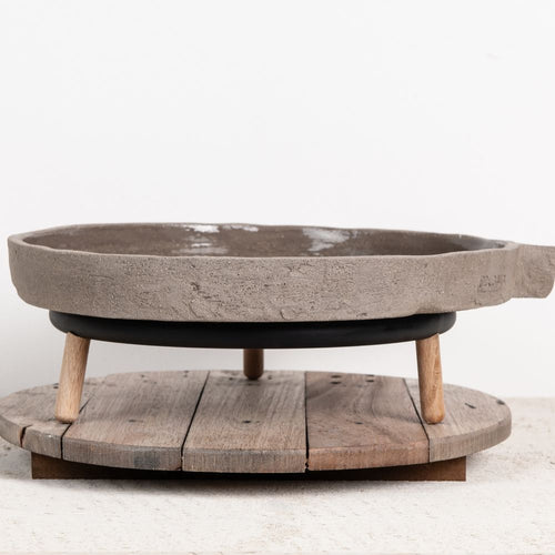 Round wooden, rustic serving board from Serax for Olea Living.