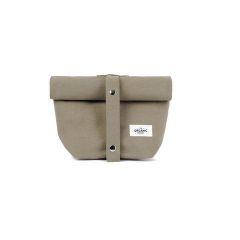 The Organic Company for Olea Living, clay, navy, canvas cotton lunch bag with adjustable strap.