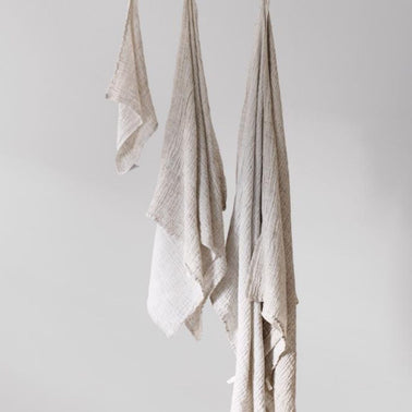 Linen and tencel cotton towel, handmade by Lapuan Kankurit for Olea Living, natural materials, Scandinavian design.