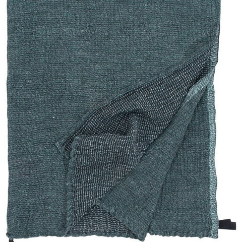 Black/green natural linen and tercel cotton towel, handmade in nFinland by Lapuan Kankurit for Olea Living, Scandinavian design.