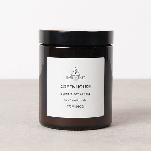 Hand poured, soy wax candle - Greenhouse. Bespoke blend of essential oils and botanical fragrance in a deep amber apothecary jar with lid. Non GMO eco wax, self trim cotton wick from Earl of East for Olea Living.