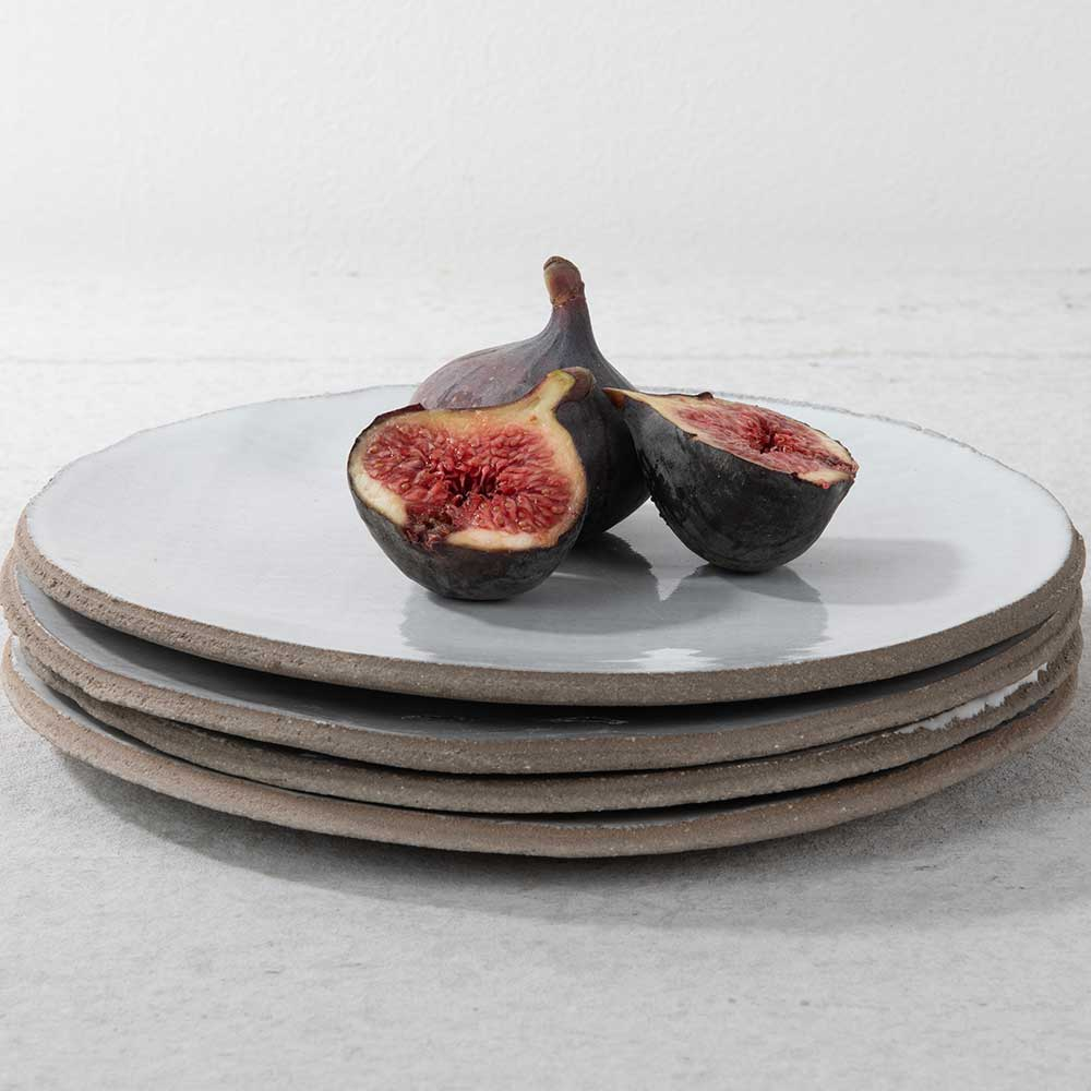 Concrete grey and white glazed plates designed by Frederick Gaultier FCK for Serax for Olea Living