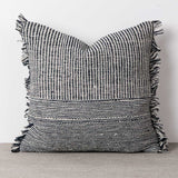 Fringed edge, naturally dyed blue and white handwoven cotton cushion cover.  Que Onda Vos for Olea Living