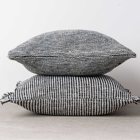 Two handwoven cotton cushion, naturally dyed blue and white.  Que Onda Vos