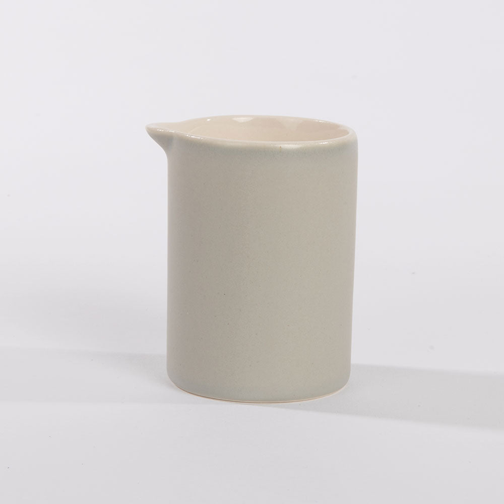 Slip cast porcelain handleless jug.  Grey.  Matt. Contemporary.  Sue Ure