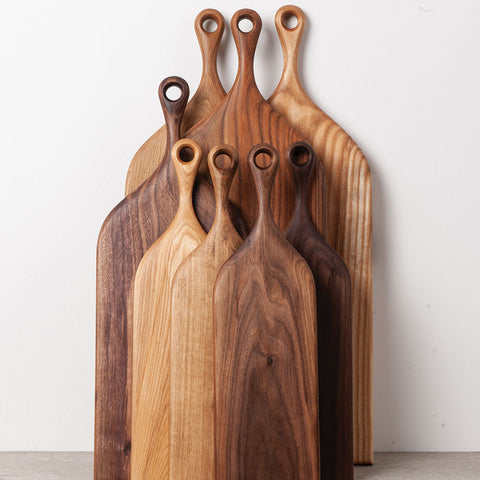 Olea Living handturned solid wood serving board.  small, medium and large in Walnut, Oak, Elm and Ash.  Scandinavian.  Head and Haft
