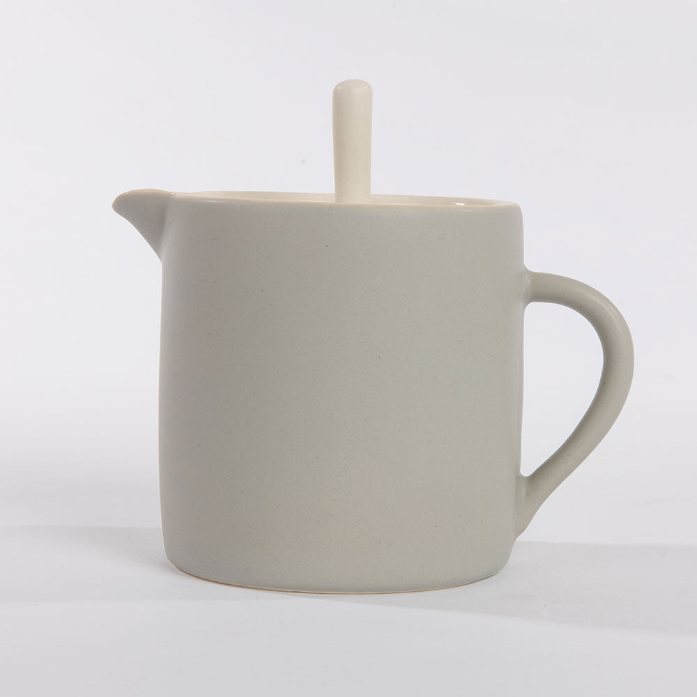 Olea Living.  Slip cast porcelain teapot.  Contemporary.  Grey.  Sue Ure