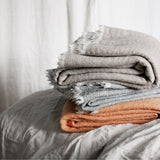 Simple 100% wool throw, grey natural, Scandinavian design, Lapuan Kankurit for Olea Living