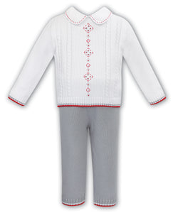 NEW AW20 Sarah Louise White, Grey and Red Outfit 012180