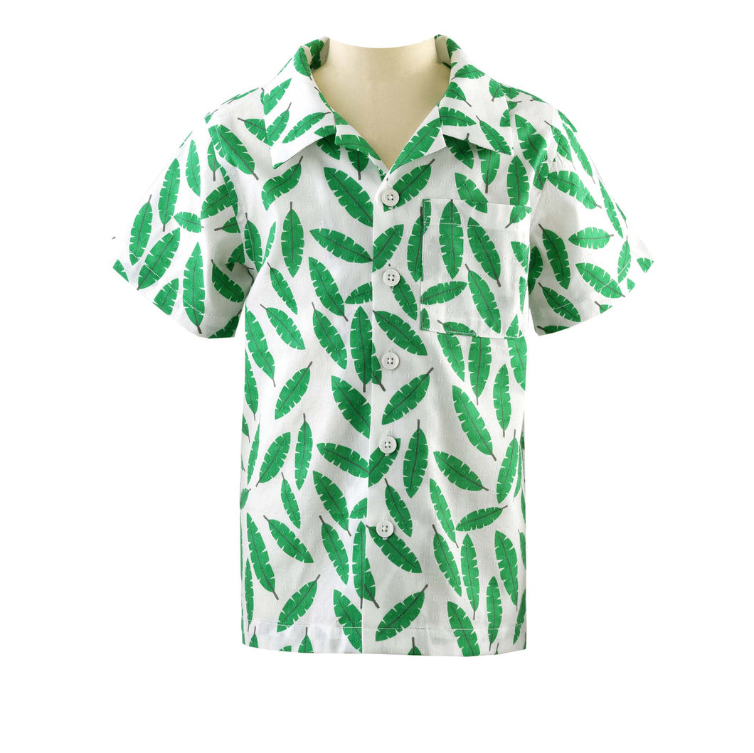 NEW SS19 Rachel Riley Boys Palm leaf shirt