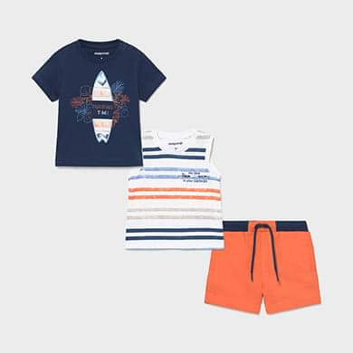 NEW SS21 Mayoral Blue Surf 3 piece Shorts Set 1672