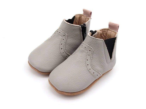 NEW AW20 Grey and Pink leather Paris Olivia Soft Sole Boots