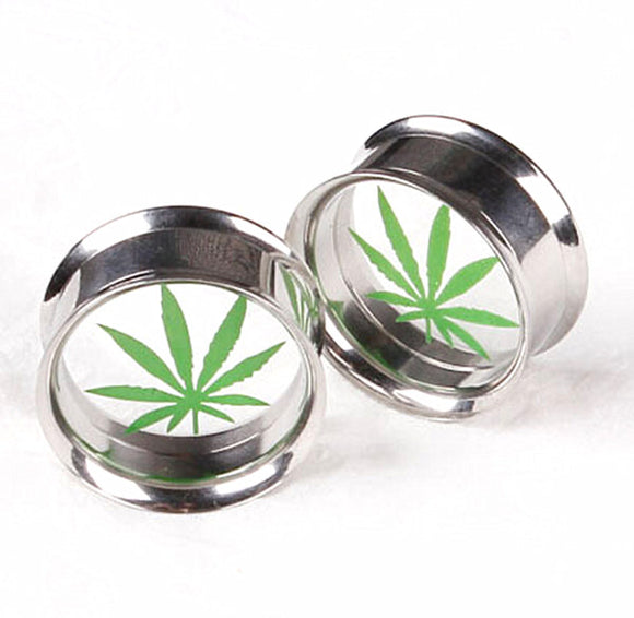 Stainless Steel Cannabis Ear Plugs = 4MM - 16MM