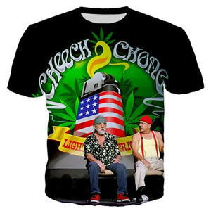 Cheech And Chong - Light up America - Womens Short Sleeve O-neck Tee