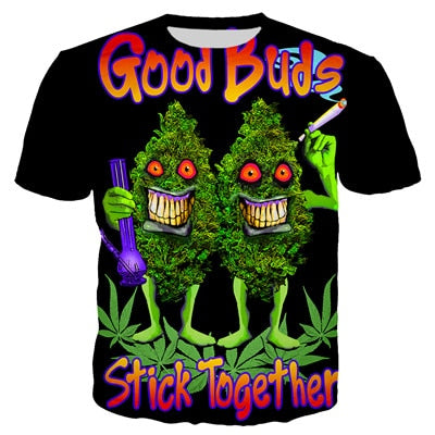 Womens Short Sleeve O-neck Tee - Good Buds Stick Together