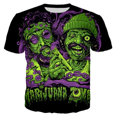 Womens Short Sleeve O-neck Tee - Marijuana Zombies