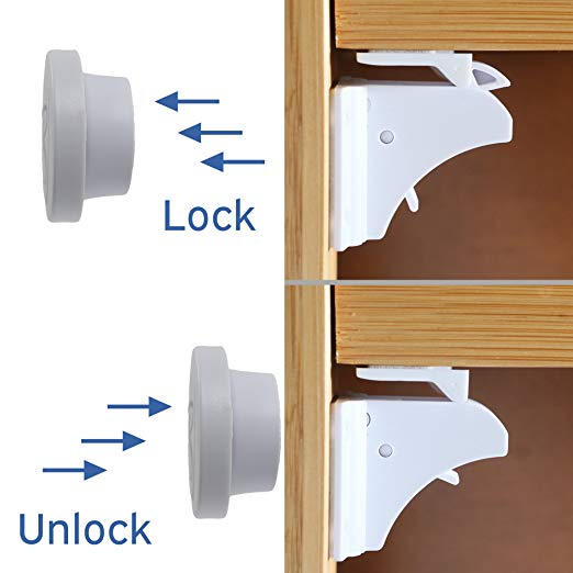 KinderGard 8-Pack Baby Safety Magnetic Lock for Babyproofing Cabinets, Cupboards, and Drawers